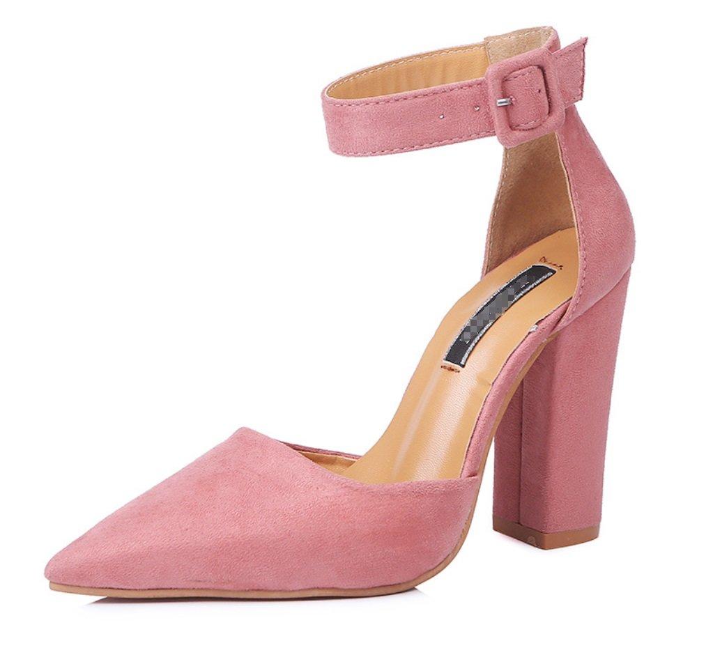 LIANGXIE Damen Grob Toe Heel Open Toe Grob Heels - Sexy Schnalle Sandalen - Solide Wildleder Schuhe Formal Hochzeit Party Comfort Classic ZHHZZ 6d6731