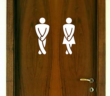 RESTROOM DOOR DECAL SET u0026quot;Legs Crossed - Gotta Gou0026quot; (Men / Women & Amazon.com: RESTROOM DOOR DECAL SET