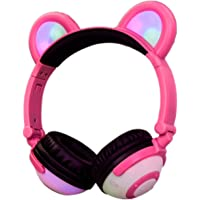 LIMSON Headsets Wireless Bluetooth Kids Headphones Over Ear with Mic - Rechargeable Rhythm Flashing Glowing Anime Cosplay Foldable Bear Ears Earphones BTR109 (Pink)