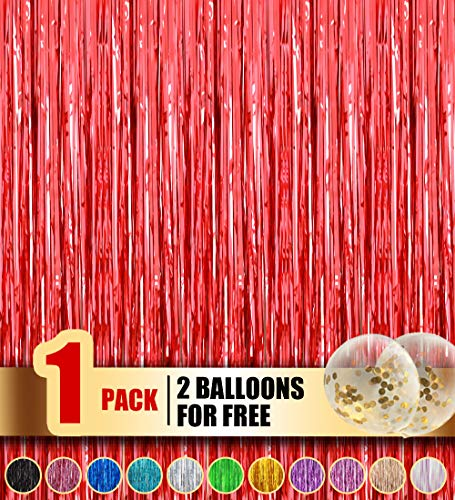 Happy Time Foil Curtains Metallic Fringe Curtains Shimmer Curtain for Birthday Wedding Party Christmas Decorations(Red,1 Pack)