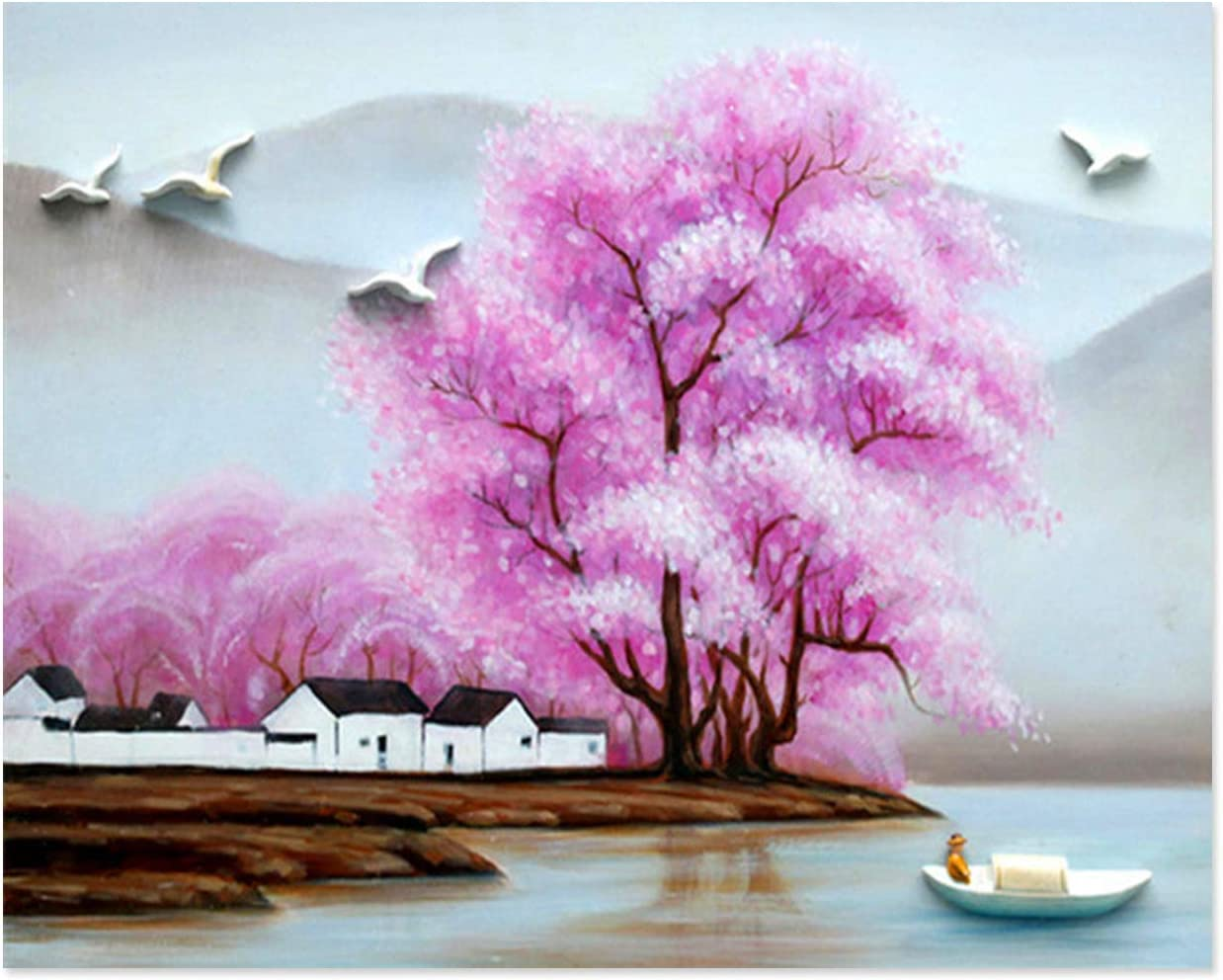 SuperDecor Paint by Number Kit DIY Oil Painting for Adults Kids Beginner Pink Flowers Tree by Sea Landscape 16x20