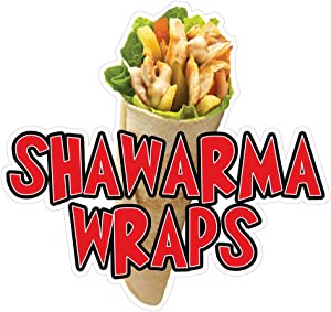 Die-Cut Sticker Multiple Sizes Shawarma Wraps Restaurant & Food Meat Indoor Decal Concession Sign Red 18in Longest Side
