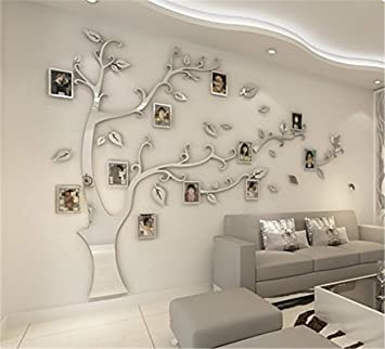 Kenmont Large Family Tree Wall Decals 3D DIY Photo Frame Wall Stickers  Crystal Acrylic Mural for Living Room Sofa TV Art Wall