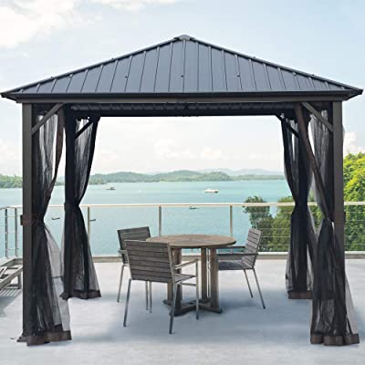 LC 10x10 Outdoor Hardtop Gazebo for Patios Galvanized Steel Canopy for Shade and Rain with Mosquito Netting, Metal Frame Gazebo for Lawn, Backyard and Deck, 99% UV Rays Block, CPAI-84 : Garden & Outdoor