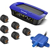 Tymate TPMS Solar Power for RV Trailer, Wireless Tire Pressure Monitoring System with 6 DIY Sensors, Real-time Displays 6 Tires' Pressure and Temperature TPMS