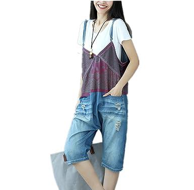 65bed5ad339 Amazon.com  Hiram Jean Women Strap Rompers Jumpsuits Denim Casual Bib Pants  Embroidery Distressed Boyfriend Wide Leg 100% Cotton  Clothing