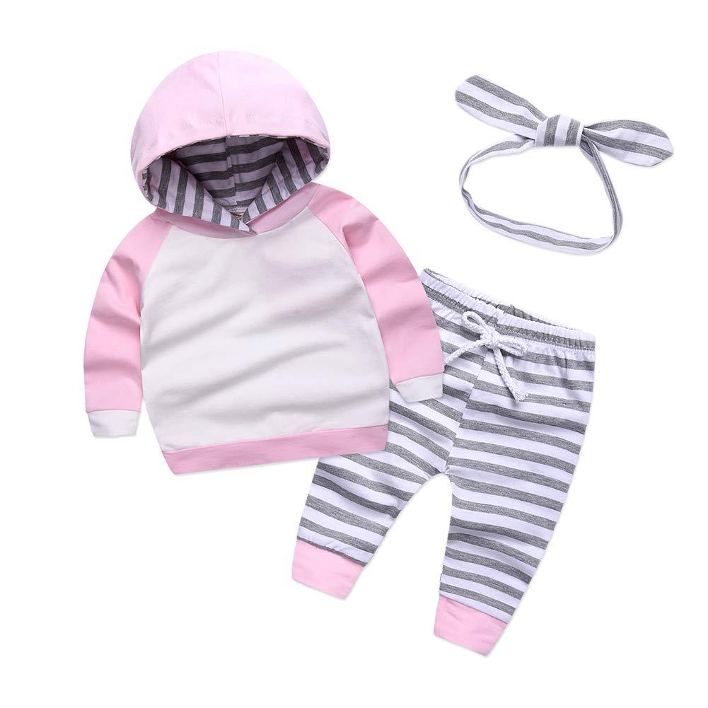 Hongyuangl bambino maniche lunghe con cappuccio + Pantaloni a strisce + cappello, bambina in cotone felpa con cappuccio pullover + Legging + archetto