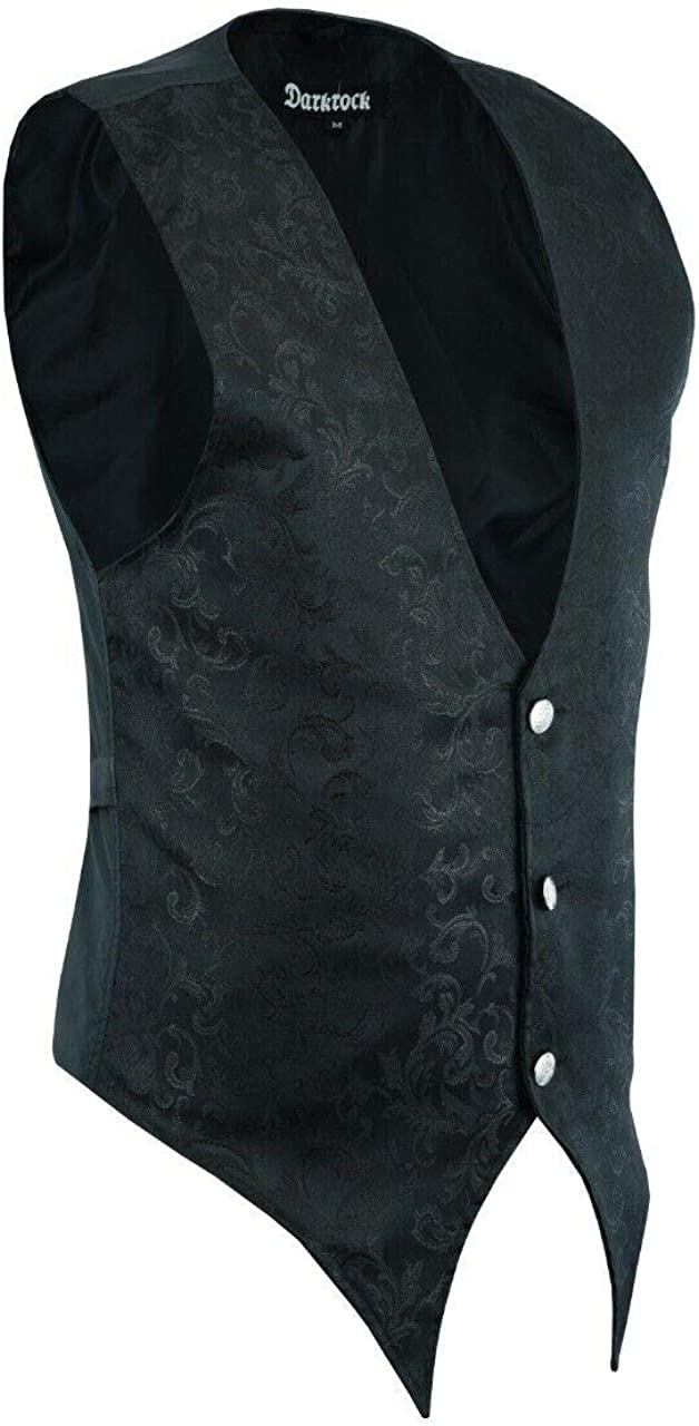 Gothic Rock Men's Victorian Single Breasted Brocade Vest Regency Waistcoat