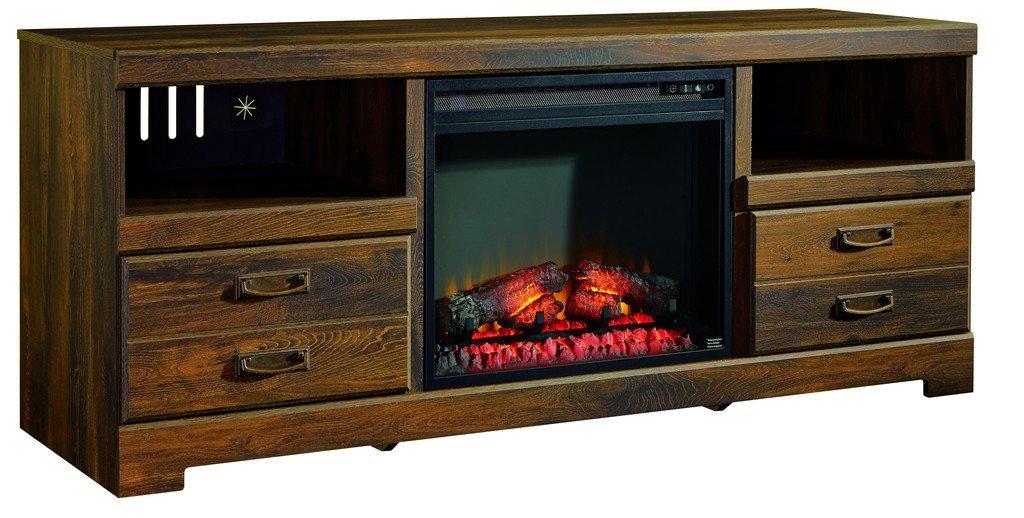 Signature Design by Ashley W246-68 Quinden Collection TV Stand, 64'', Dark Brown