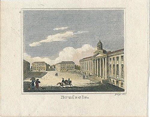 1820 Original Antique - Brussels Belgium 1820 original antique miniature hand color city view