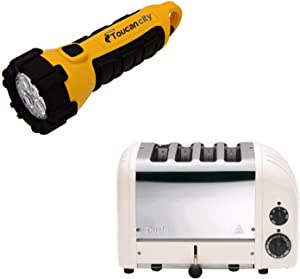 Toucan City LED Flashlight and Dualit New Gen 4-Slice Powder Wide Slot Toaster with Crumb Tray 47445