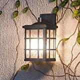 Luxury Craftsman Outdoor LED Wall Light, Small Size: 13''H x 8''W, with Tudor Style Elements, High-End Black Silk Finish and Water Glass, Integrated LED Technology, UQL1240 by Urban Ambiance