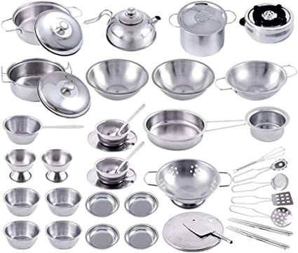 2 Sets Töpfe und Pfannen Küche Kochgeschirr für Kinder Spielhaus