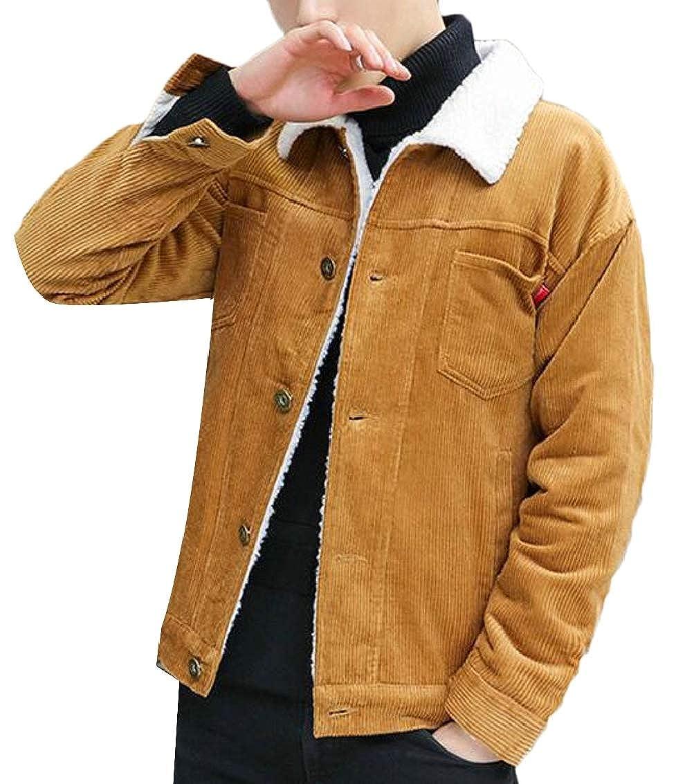 Jaycargogo Men's Vintage Sherpa Lined Shearling Corduroy Trucker Jacket Coat