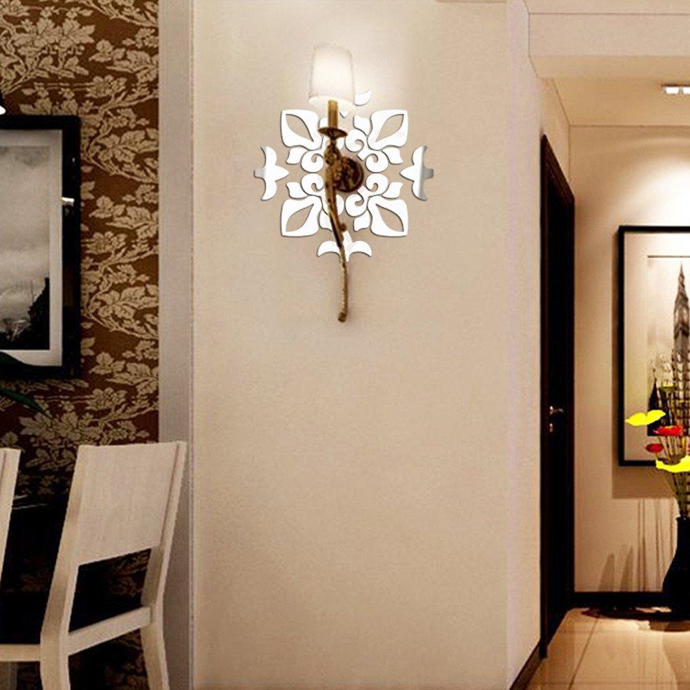 Splendido Orologio Parete Removibile Specchio Argento Murales Decal Casa Soggiorno Camera Letto Decorazione ODJOY-FAN Creativo Astratto Stile Acrilico Adesivi murali 3D Specchi da Parete a Specchio