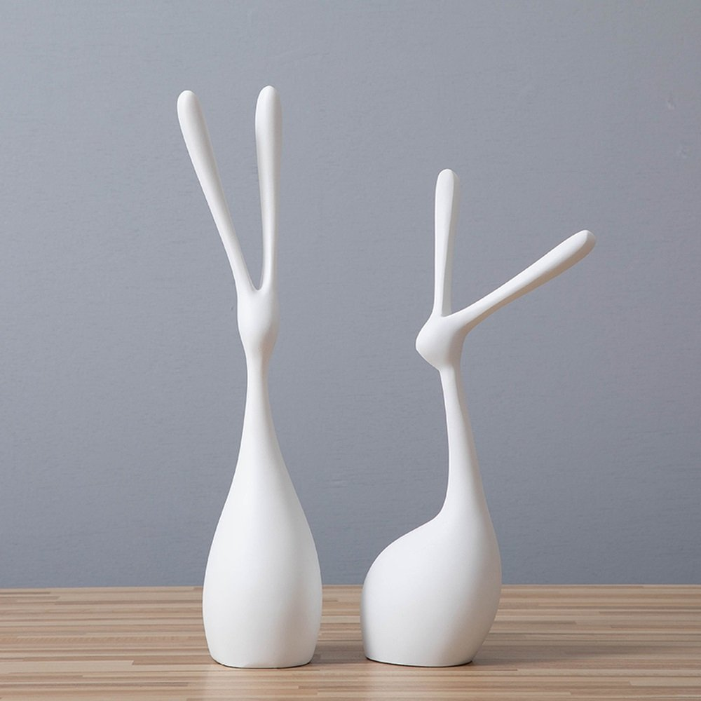 BWLZSP 1 pair Nordic home decor modern minimalist abstract rabbit animal ornaments wine cabinet living room porch crafts LU612921 (Color : White)