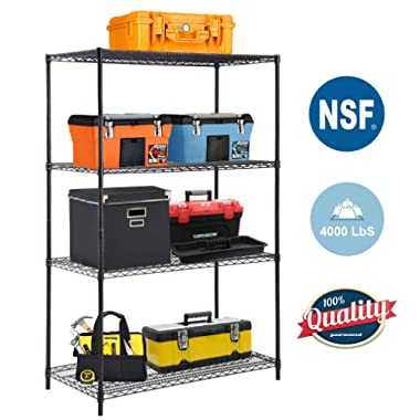 4-TierWireShelvingUnit Steel Large Metal Shelf Organizer Garage Storage Shelves Heavy Duty NSF Certified Height Adjustable Commercial Grade Metal Rack 4000 LBS Capacity 24D x 48W x 72H Black