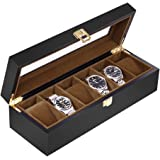 Baskiss 6 Slots Watch Box for Men, Solid Wood Watch Display Storage Case Jewelry Organizer with Clear Top