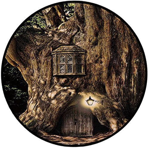 Red Rug Grand Trunk - Printing Round Rug,Fantasy,Fairytale House in Tree Trunk in Forest with Lanterns Folk Stories Themed Design Mat Non-Slip Soft Entrance Mat Door Floor Rug Area Rug For Chair Living Room,Umber Brown
