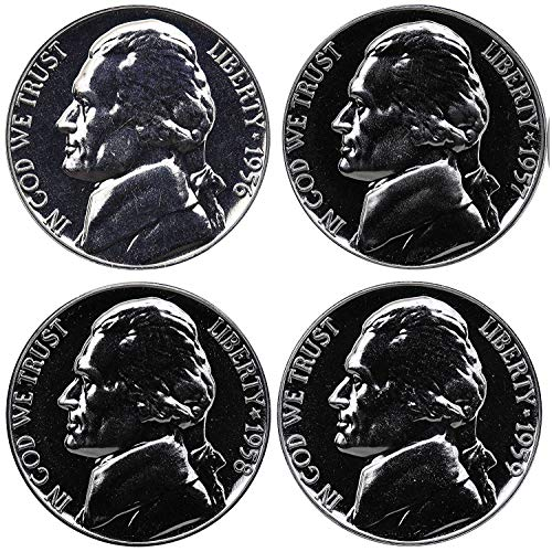 1956 P 1957 1958 1959 Jefferson Nickel Gem Proof Run 4 Coins .05 US Mint Proof