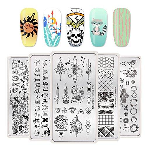 Nicole Diary Stamping Nail Art Plates Kit Nature World Series