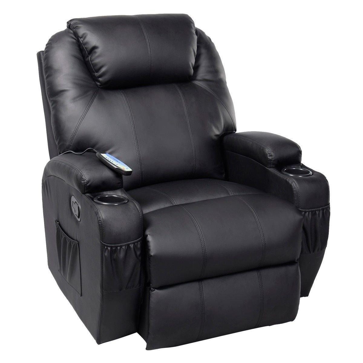 GHP Black Sturdy Ergonomic Seating Massage Recliner Sofa Chair Lounge Heated w Control