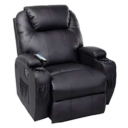 GHP Black Sturdy Ergonomic Seating Massage Recliner Sofa Chair Lounge  Heated W Control