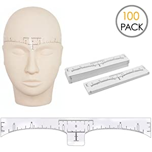 100 Pack Eyebrow Ruler, KINGMAS Disposable Adhesive Eyebrow Sticker Microblading Ruler Stencil Guide makeup tool