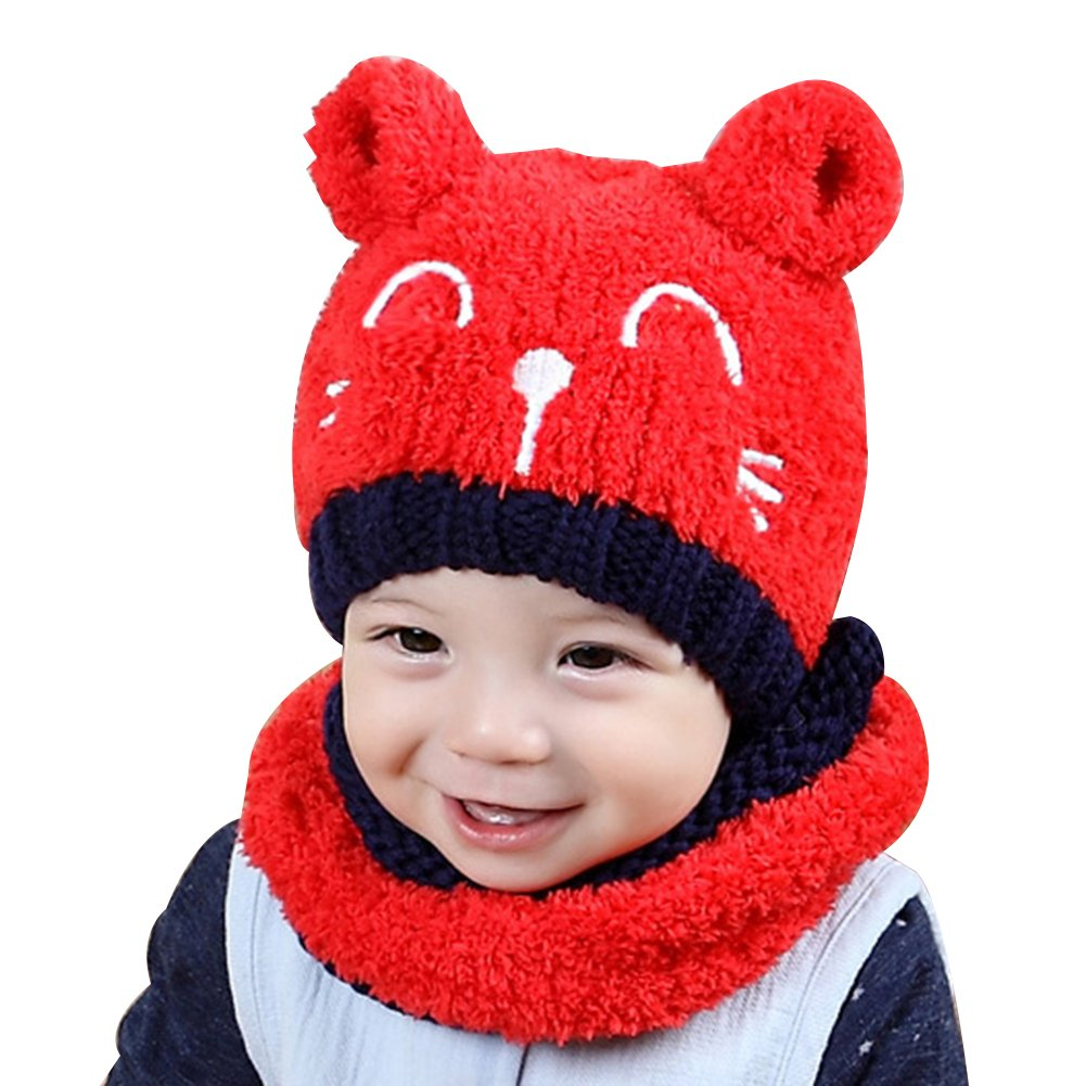 Gemini_mall® Boys Hats, Baby Boy Girl Knitted Children's Lovely Soft Hat + Scarf Toddler Kids Two Piece Set Xmas Gifts