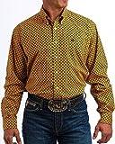 Cinch Men's Classic Fit Long Sleeve Button One Open Pocket Print Shirt, Orange/Black, XXL