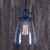 XIDING Premium Indoor Industrial Edison Vintage Style Pendant light with Clear Glass Shade,Retro Upgrade Hanging Light, E26 Base,Adjustable Wire,1-Light