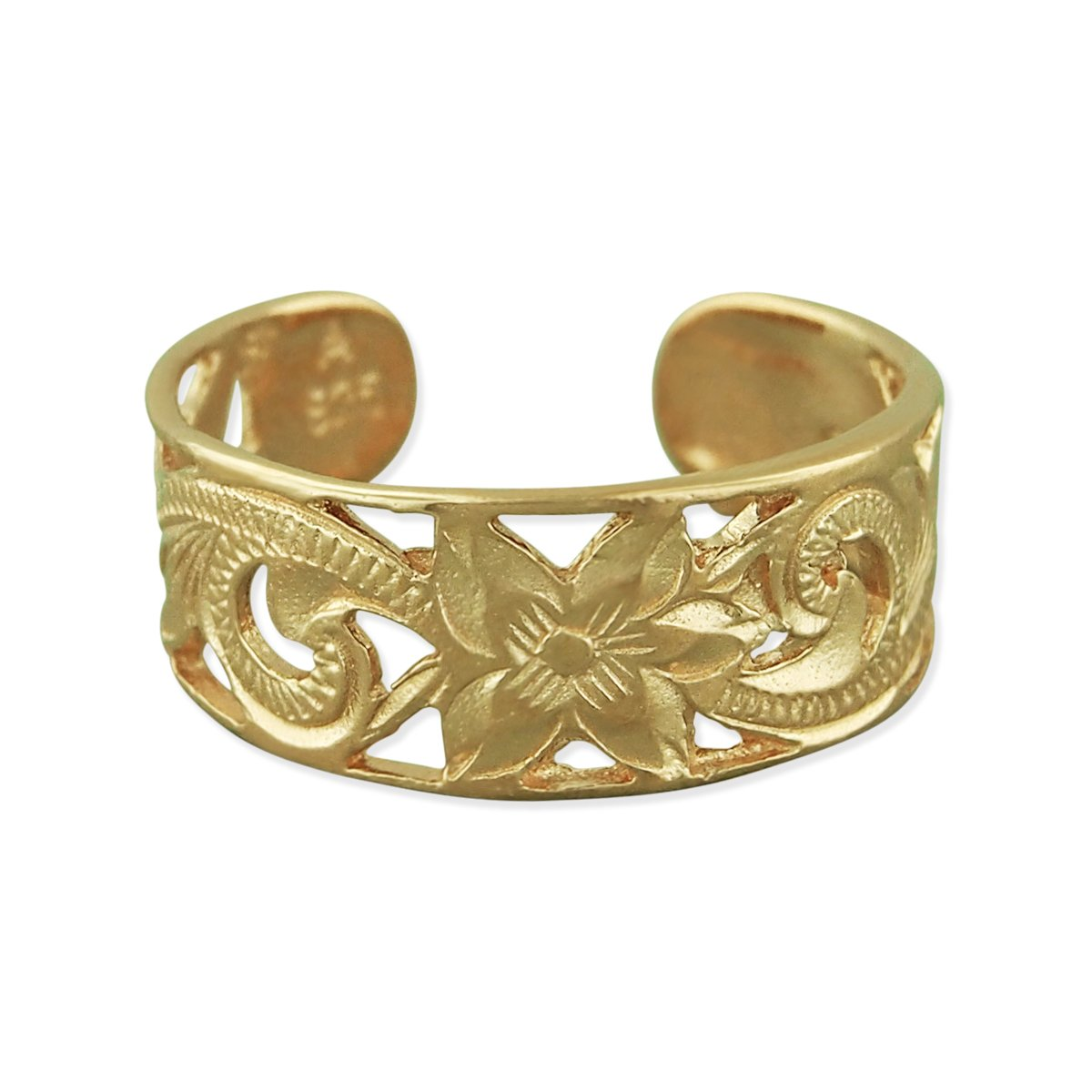 14kt Yellow Gold Plated Sterling Silver 6mm Filigree Band Toe Ring