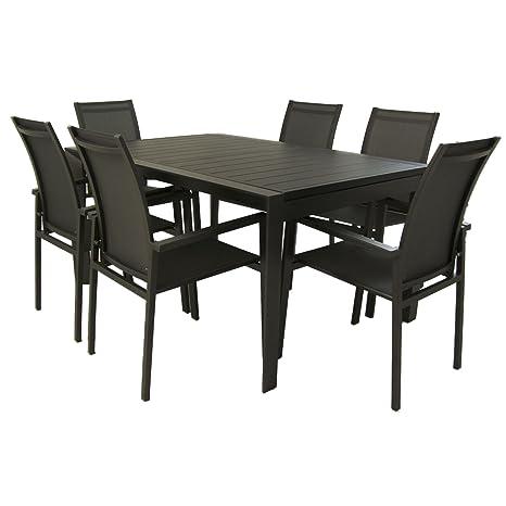 Conjunto Muebles jardín | Mesa Extensible de 160/220 cm y 6 ...