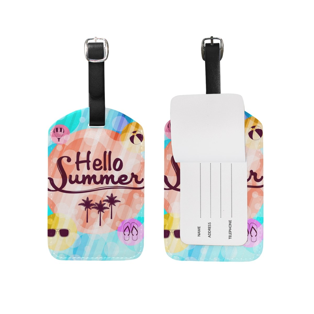 U LIFE Hello Welcome Summer Tropical Ocean Sea Beach Luggage Tag Travel Baggage Tags by ALAZA