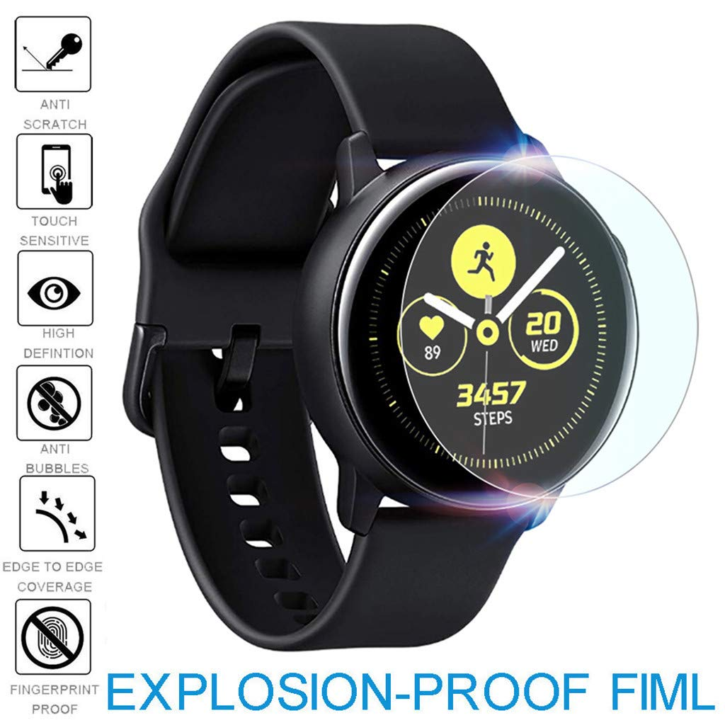 2Pack/PC Full Coverage Tempered Glass for Samsung Galaxy Watch Active Explosion-Proof TPU Screen Protector Film for Samsung Galaxy Watch Active