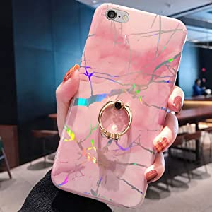 Marble Case for iPhone 6S Plus/6 Plus Cover,GirlsWomen Diamond Ring Stand Sparkle Laser Aurora Color Marble Design Flexible Soft Rubber Gel TPU Case Cover for iPhone 6S Plus Silicone Case,Pink