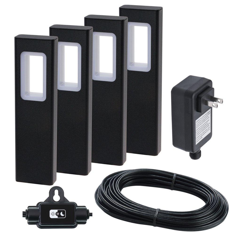 GreenLighting Modern Bollard Garden Path Light Kit w/Transformer (Black, 4pk)