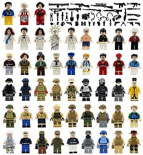 Maykid 48 Minifigures Building Bricks Community People with 40 Figure Accessories, Building Party Toys