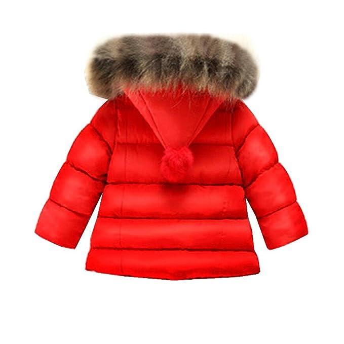 BAINASIQI 2017 Niñas Bebés Abrigo Caliente Chaqueta de Piel Abrigo de Peluche Grueso de invierno (100cm, Rojo): Amazon.es: Ropa y accesorios
