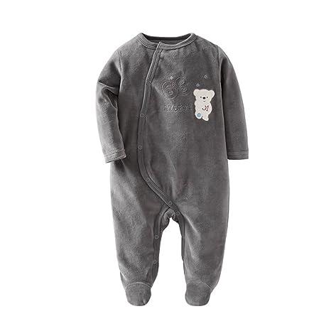 Mameluco de bebé Mono de terciopelo de manga larga Onesies Unisex Pijamas de bebé cómodo peleles
