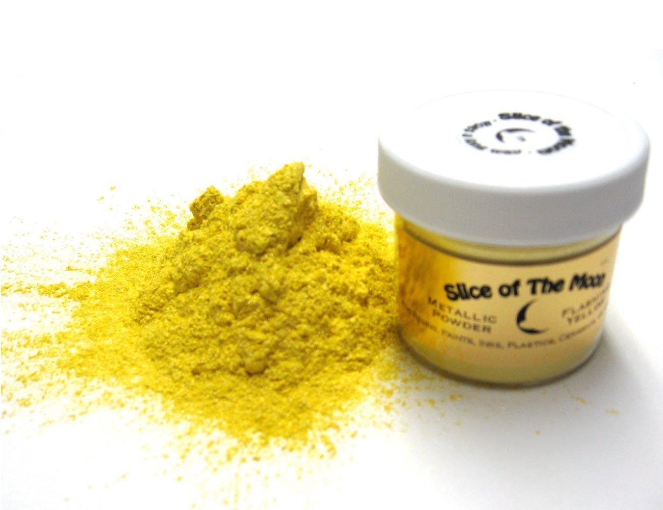 Flashing Yellow Mica Powder 1oz, Metallic Yellow Powder, Slice of the Moon