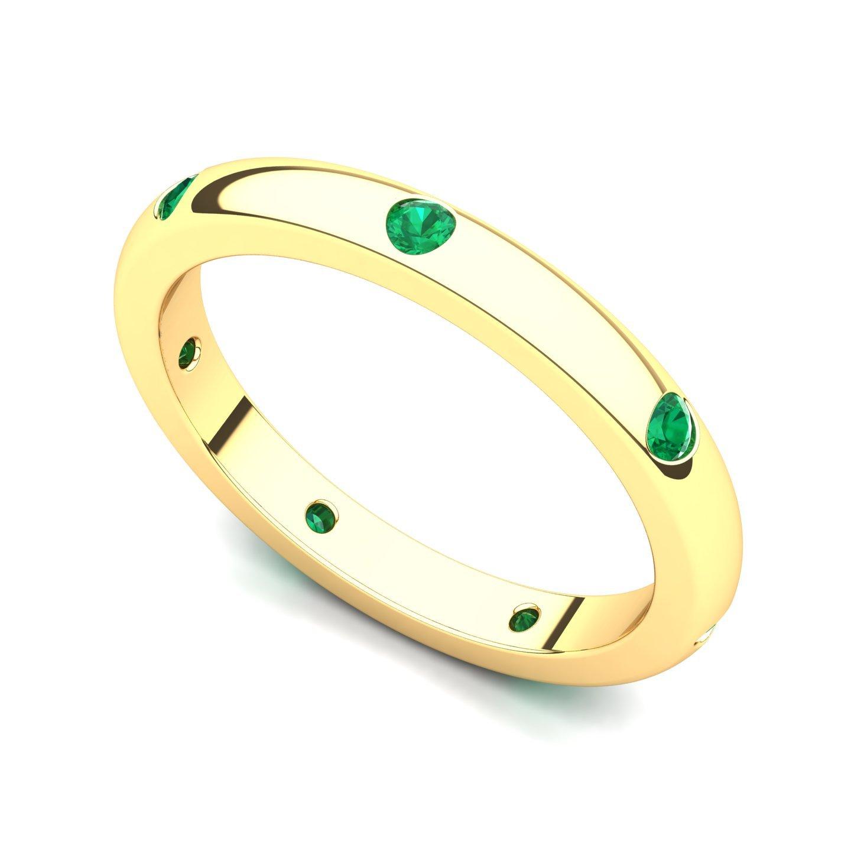 14k Yellow Gold Bezel set Emerald Semi Eternity Band Ring, 9.5