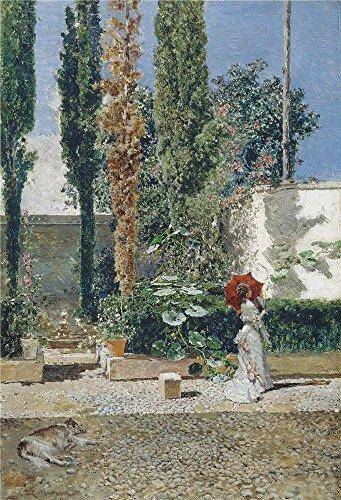 Oil Painting 'Fortuny Marsal Mariano Madrazo Y Garreta Raimundo De Jardin De La Casa De Fortuny Ca. 1872' 24 x 35 inch / 61 x 89 cm , on High - Blizzard Website Beach