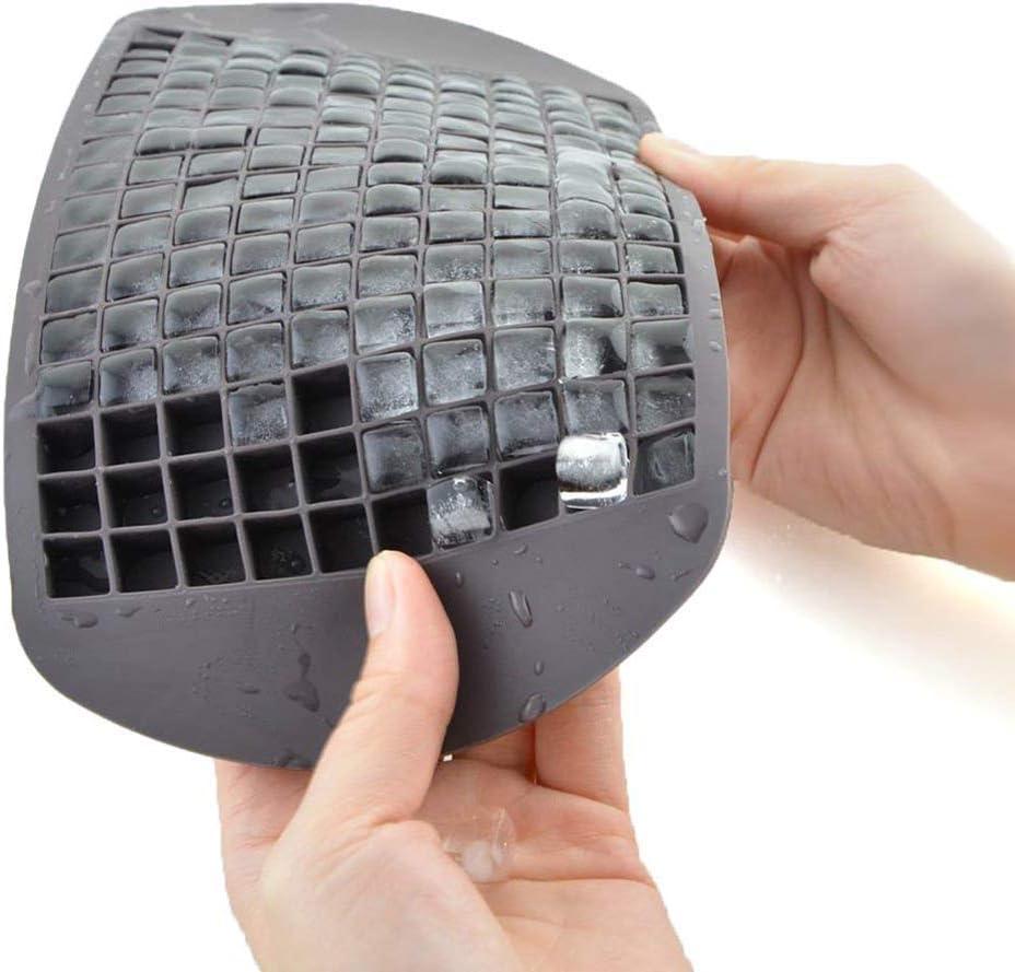 Mini Cubetti di Ghiaccio Set da 2 Budini 160 Stampi per Cubetti di Ghiaccio Forma Quadrata AUFELL per Cucina Bar in Silicone Nero e Rosso Piccoli Cubetti di Ghiaccio