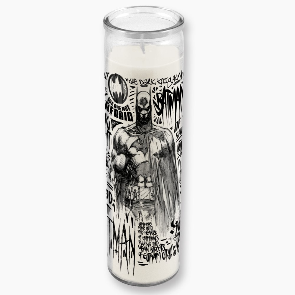 Batman The Dark Knight Detective Graffiti Illustration Clear Glass Tall Candle With Unscented White Wax ICUP DC Comics