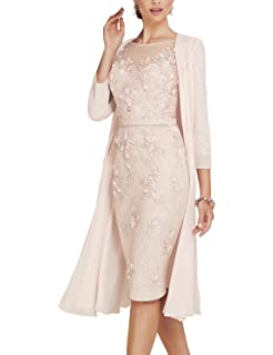 ae300a64fb6 Newdeve Lace Mother of The Bride Dresses Tea Length Sheath 3 4 Sleeves with  Chiffon