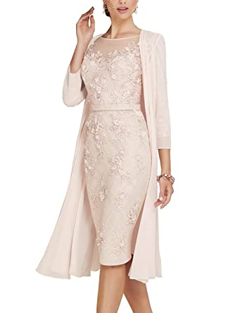 71eb41cf528 Newdeve Lace Mother of The Bride Dresses Tea Length Sheath 3 4 Sleeves with  Chiffon Jacket at Amazon Women s Clothing store