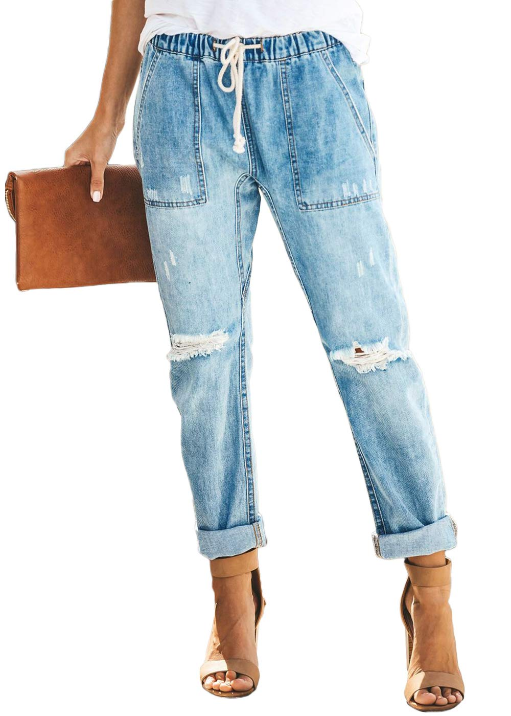 Feditch Womens Pull-on Distressed Elastic Waist Denim Joggers Pants with Pockets