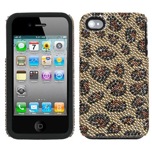 Leopard Skin/ Camel Diamond Cover Protector Case for Apple iPhone 4 - Leopard Mybat Skin