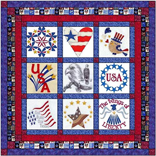 (Quilt Kit Patriotic Americana/Pre Cut Ready to Sew/Finished Embroidery)